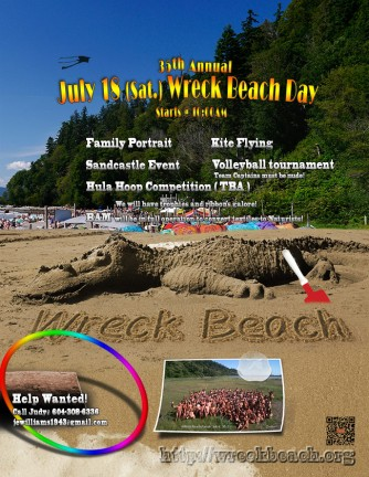 2015 Wreck Beach Day has been postponed to July 18(Sat.)
